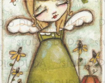 Print of my Original Fall Angel Mixed Media Painting - Autumn Blessings