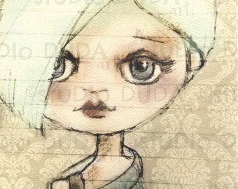 Digitally enhanced print of my original Blythe inspired sketch - What A Doll Series - Anna