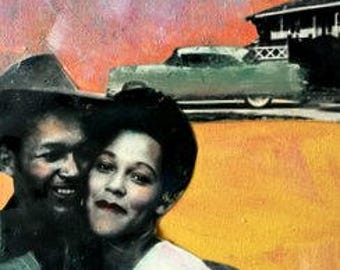 Painting  young couple in love vintage African American mixed media acrylic