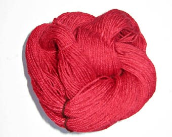 Red Yarn, Alpaca, Border Leicester, and Corriedale Wool Yarn, 3 ply Sock Yarn, 250 yards, Free Shipping, Grown and Made in Michigan