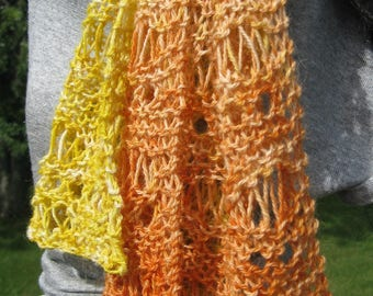 Hand Knit Scarf, Alpaca Scarf for Men or Women, Hand dyed Yellow to Orange Scarf, Lace Scarf