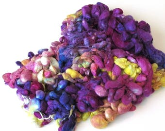 Degummed Silk Cocoons Hand Dyed for paper making fibre arts 130g