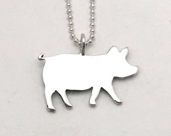 Simple Pig Pendant made from Vintage Silver US Half Dollar Coin