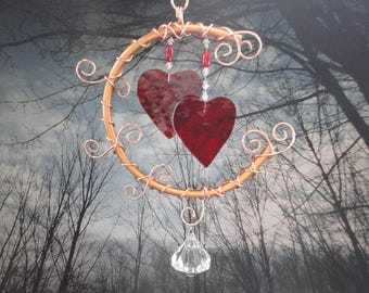 Stained Glass Hearts, Moon, Mobile, Copper Art, Valentine, Home Decor, Window Hanging, Wedding, Garden Decor,I Love You to the Moon and Back