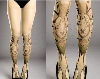 30%off/endsJUL23/ Tattoo Tights -  closed toe nude color one size Triple Deer full length printed tights pantyhose tattoosocks tattootights