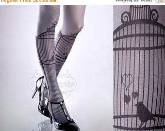 SALE///Happy2018/// Tattoo Tights, Bird Cage Asphalt one size full length closed toe printed tights pantyhose, by tattoosocks