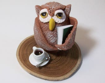 Night Owl figurine, with mini book and coffee cup: Polymer clay owls