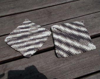 Crochet Hot Pads, Variegated Pot Holders, Crochet Pot Holders ,Chocolate Ombre, Trivet, Housewarming Gift, Kitchen Gift, Hand Crochet