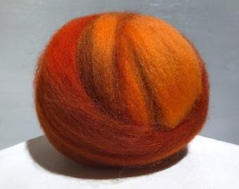 orange, Pumpkin wool roving, hand dyed Felting Spinning Fiber, burnt yellow orange rust cinnamon auburn carrot olive green