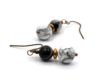 Howlite Earrings, White Marble Earrings, Marble Earrings, Marble Dangle Earrings, Everyday Jewelry, Simple Jewelry, Boho Jewelry
