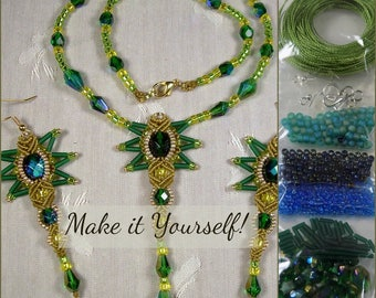 KIT - Beaded Micro Macrame Necklace and Earrings - StarBurst - Green and Teal