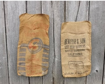 2 Vintage burlap gunny sack bags, Swifts Swine Concentrate Chicago, Ben Fish & Son Seed Bean Growers Santa Barbara, Advertising Collect