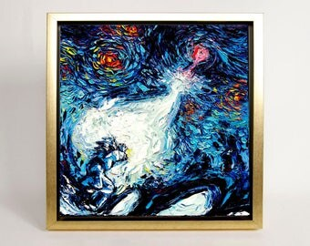 Dragonball Z Art FRAMED CANVAS print van Gogh Never Saw A Power Level Over 9000 art starry night Aja choose size wall decor boy room