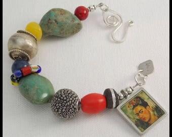 FRIDA - Mixed Beads - Frida Kahlo Image - 1 of a Kind Bracelet