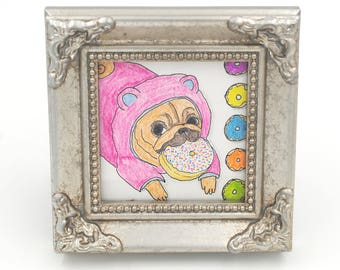 Donut Pug Art, Tiny Art, Original Pug Pastel Painting, Pug Gifts, Coworker Gift, Dog Lover Gift, Dog Artwork, Gifts Under 50, Cubicle Decor