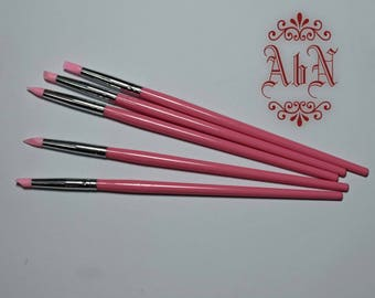PINK - Silicon Shaper brushes SOFT #2 - Clay Modelling Tools - For making OOAK Art Dolls