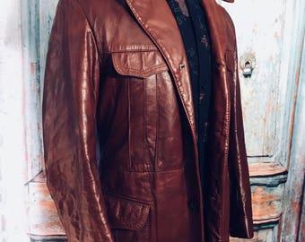Mens Vintage 1970's Leather Coat