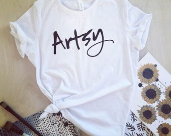 NEW - Artsy T-shirt - white or charcoal