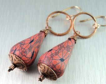 Copper and Polymer Clay Earrings - Poly Clay Dangle Earrings - Red Copper Earrings