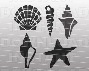 Shells SVG File Cutting Template-Beach Clip Art for Commercial & Personal Use-vector art file Cricut,SCAL,Cameo,Sizzix,Pazzles,Silhouette