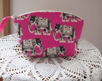 Essential Oil Case, Antiquebasketlady, Elephant Cosmetic Bag, Elephant Clutch, Zipper Elephant Purse, Elephants on Parade Made in the USA