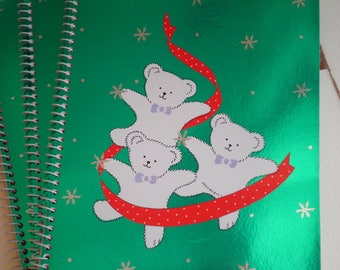 Vintage Kawaii Sanrio White Santa Bear Christmas Spiral Notepad - Retro Holiday Bears Snowflake Notebook Paper Hello Kitty Pals Animal Gift