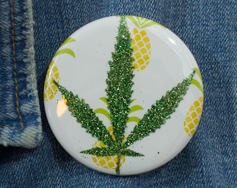 Green Glitter Pressed Cannabis Leaf Button