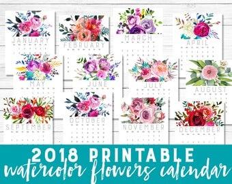 2018 calendar, Printable, Calendar 2018, watercolor, flowers, pastel, multi color, calendar, floral wall calendar, Instant download, 8 5x11