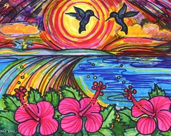 Greeting Card, Hummingbird, Hibiscus Flower, Island Paradise, Caribbean, Vieques Island, Ocean Joy, tiniest Bird, made in California Eco Art