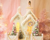 MADE TO ORDER - Shabby Putz Church w/ Bottle Brush Trees, Reindeer, Glitter, Snow, Lighted