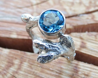 Topaz Twig Branch Ring Blue Topaz Gemstone Ring in Sterling Silver on Sale Statement Ring Nature Ring Cast from a real tree Twig with Buds