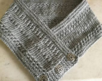 Light Gray Knit Buttoned Cowl Celtic Buttons