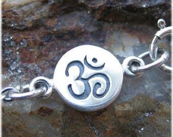 ON SALE TODAY Om Bracelet - Yoga Jewelry - Sterling Silver