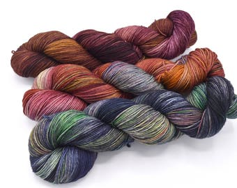 3 Color Shawl Set - Gasoline Rainbow - Hand Dyed to Order