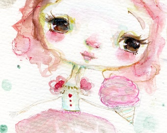 Cotton Candy Princess - 5x8 original watercolor