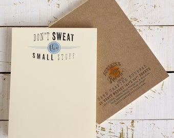 handmade notepad - don't sweat the small stuff - list pad - to do list - inspirational doodle pad - short notes - small notepad -note pad