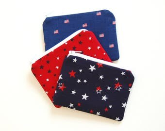 Small Zipper Pouch, Coin Purse, Choice of Colors, Stars, Flags, Independence Day, 4th of July, Patriotic