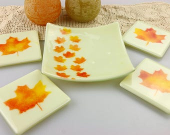 Maple Leaves Fused Glass Candy Dish Soap Trinket by Getglassy