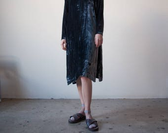 dark gray crushed velvet tent dress / midi oversized dress / simple velvet dress / s / m / l / 2266d / B3