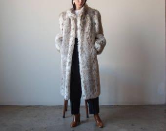oversized animal print faux fur coat / puff sleeve coat / oversized plush coat / s / m / 2364o / R4