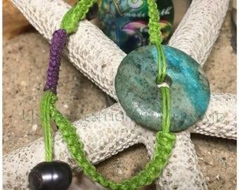 "Adjustable 1"" Turquoise Donut, Sterling, Freshwater Pearl Hemp Macrame Bracelet"