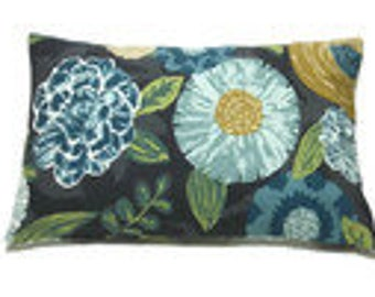 Decorative Lumbar Pillow Cover Blue Gold Green White Black Gray Same Fabric Front/Back 12x18 inch