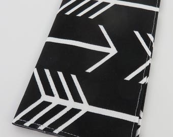 Checkbook Cover Case Cheque Book Receipts  - Large White Arrows on Black Fabric