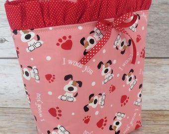 Valentine I Woof You Puppy Fabric | Girl Ballet Dance Mini Tote Bag | Handbag for Girls | Kids Bag | Ballet Gift for Girl | Ballet Tote Bag
