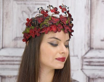Ruby Red Flower Crown, Elven Headpiece, Fantasy Headpiece, Red and Black, Fairy Crown, Fantasy, Woodland Wedding, Bridal Headpiece, Fae