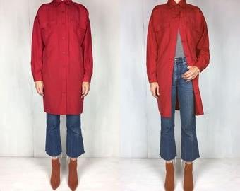Red Silk Button Down Shirt Dress