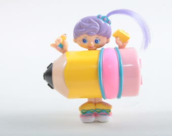 Sweet Secrets, Stationery Charms, Pencil, Vintage, Toy, Galoob, Puple Hair, Girl, Pink, Yellow Pencil, Plastic ~ The Pink Room ~ SS004