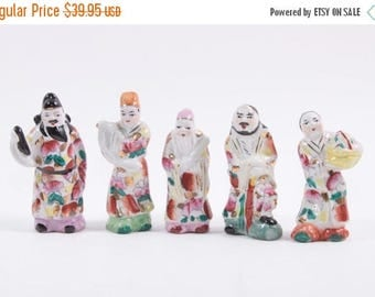 Vintage Ceramic Five Chinese Men With Gold Accents - Figurines - 1920s ~ The Pink Room ~ 161110C
