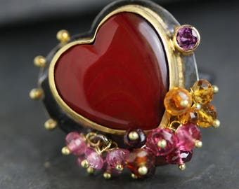 Roserita Red Gemstone Heart Ring. Valentines Day Gift for Her. US size 8.5.