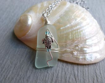 Handmade seaglass LIGHT MINT with TURTLE wire wrapped stainless chain